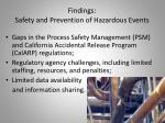 findings safety and prevention of hazardous events