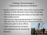 findings shortcomings in community education and alerts