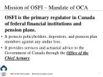 mission of osfi mandate of oca