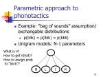 parametric approach to phonotactics1