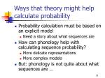 ways that theory might help calculate probability1