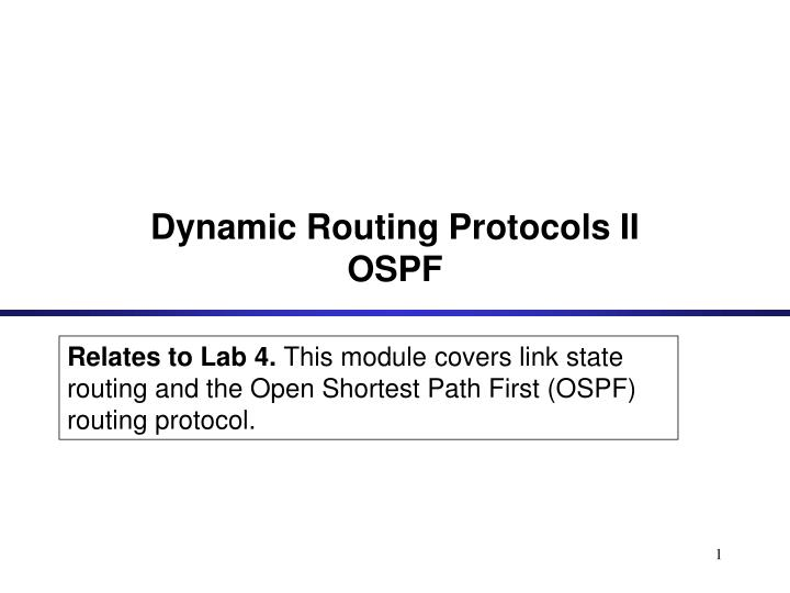 dynamic routing protocols ii ospf n.