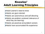 knowles adult learning principles