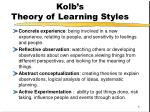 kolb s theory of learning styles