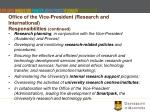 office of the vice president research and international responsibilities continued