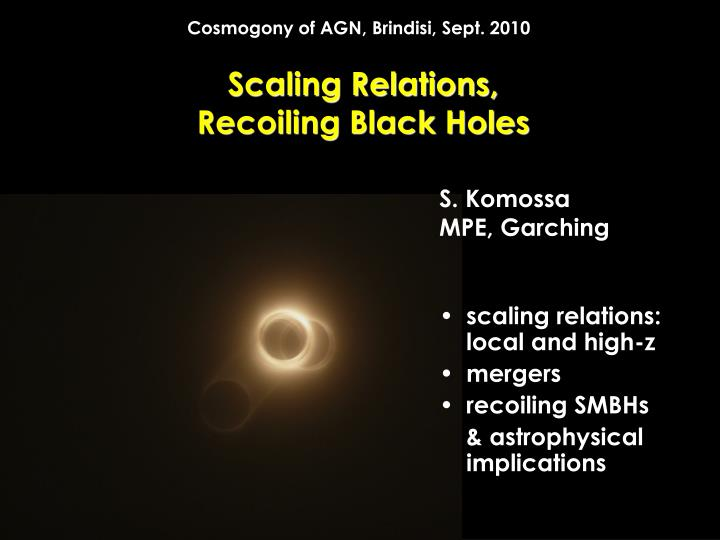 scaling relations recoiling black holes n.