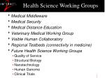 health science working groups