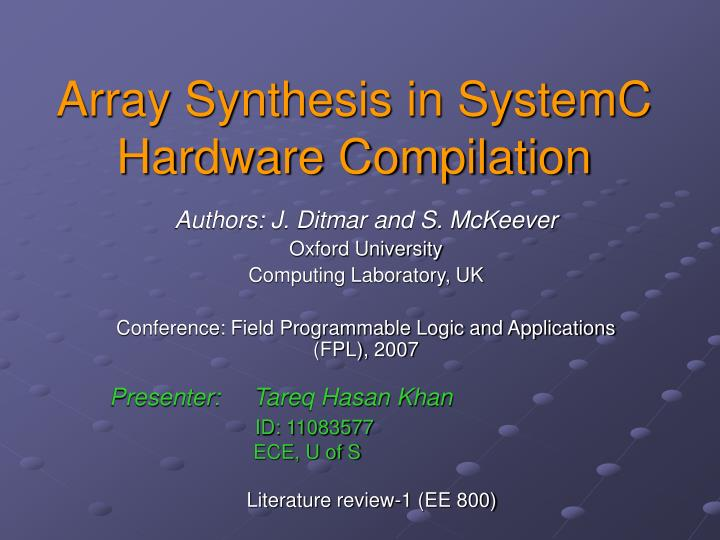 array synthesis in systemc hardware compilation n.