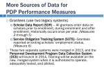 more sources of data for pdp performance measures