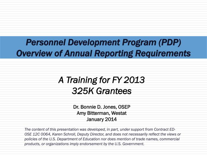 personnel development program pdp overview of annual reporting requirements n.