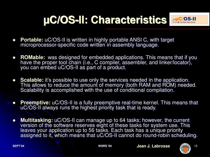 µC/OS-II: Characteristics