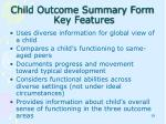 child outcome summary form key features1