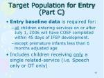 target population for entry part c