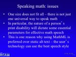 speaking math issues
