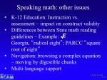 speaking math other issues