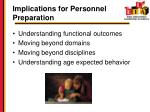 implications for personnel preparation