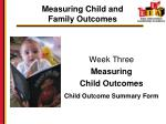 measuring child and family outcomes