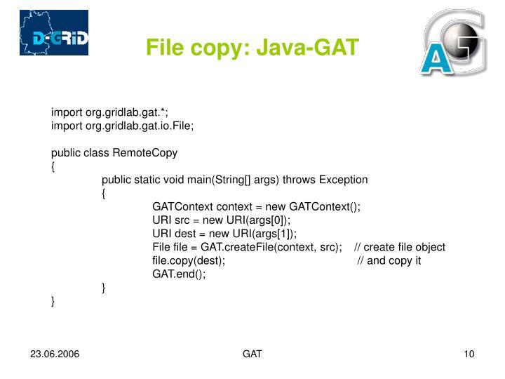 File copy: Java-GAT