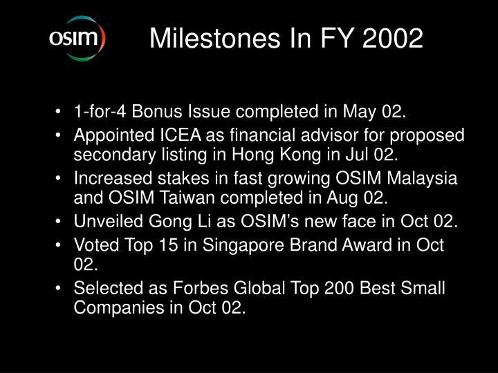 Milestones In FY 2002