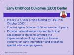 early childhood outcomes eco center