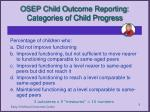 osep child outcome reporting categories of child progress