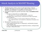 attack analysis in manet routing