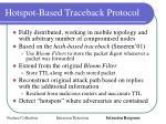 hotspot based traceback protocol
