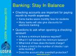 banking stay in balance