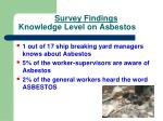 survey findings knowledge level on asbestos