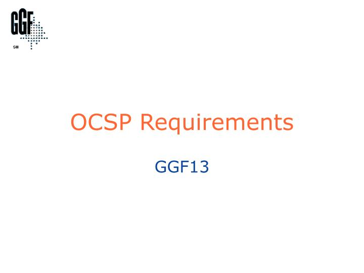 ocsp requirements n.