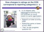 how changes in ratings on the cos correspond to reporting categories a e3