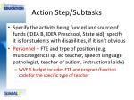 action step subtasks