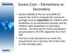 excess cost elementary vs secondary
