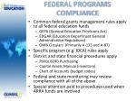 federal programs compliance