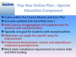 five year online plan special education component
