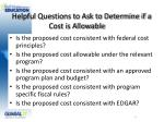 helpful questions to ask to determine if a cost is allowable