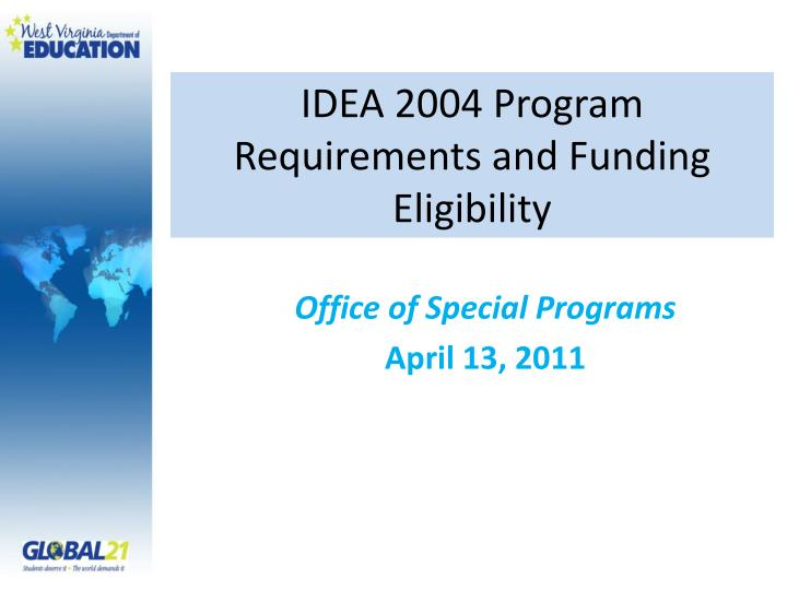 idea 2004 program requirements and funding eligibility n.