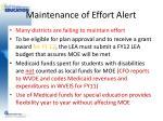 maintenance of effort alert