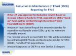 reduction in maintenance of effort moe reporting for fy10
