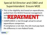 special ed director and csbo and superintendent ensure moe