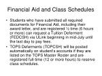 financial aid and class schedules