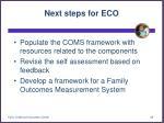 next steps for eco