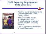 osep reporting requirements child outcomes