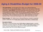 aging disabilities budget for 2008 09