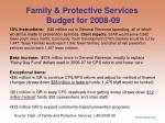 family protective services budget for 2008 09