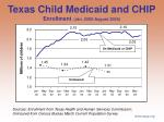 texas child medicaid and chip enrollment jan 2002 august 2006