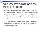 avalanche photodiode gain and impulse response