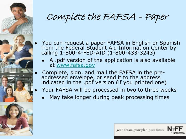 Complete the FAFSA - Paper