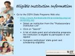 eligible institution information
