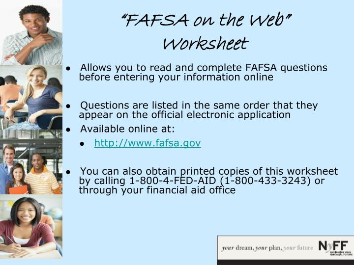 """FAFSA on the Web"" Worksheet"